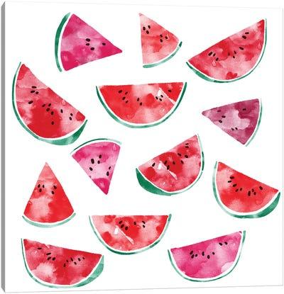 Watermelon Watercolor Canvas Art Print