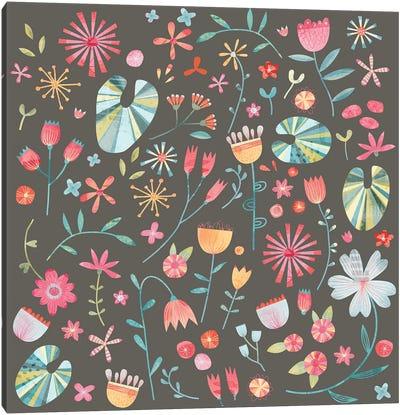 Wayside Flowers Dark Canvas Art Print