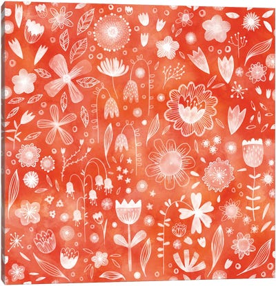 White Flowers On Coral Canvas Art Print