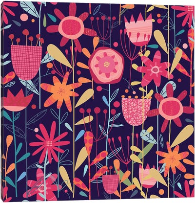 Wild Weeds And Flowers Dark Canvas Art Print