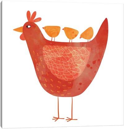 Hen And Chicks Canvas Art Print