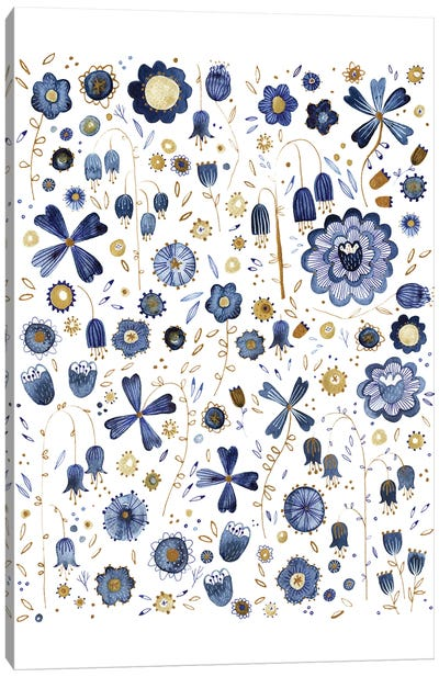 Indigo Flower Mashup Canvas Art Print