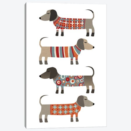 Sausage Dogs In Sweaters Canvas Print #NSQ60} by Nic Squirrell Canvas Art