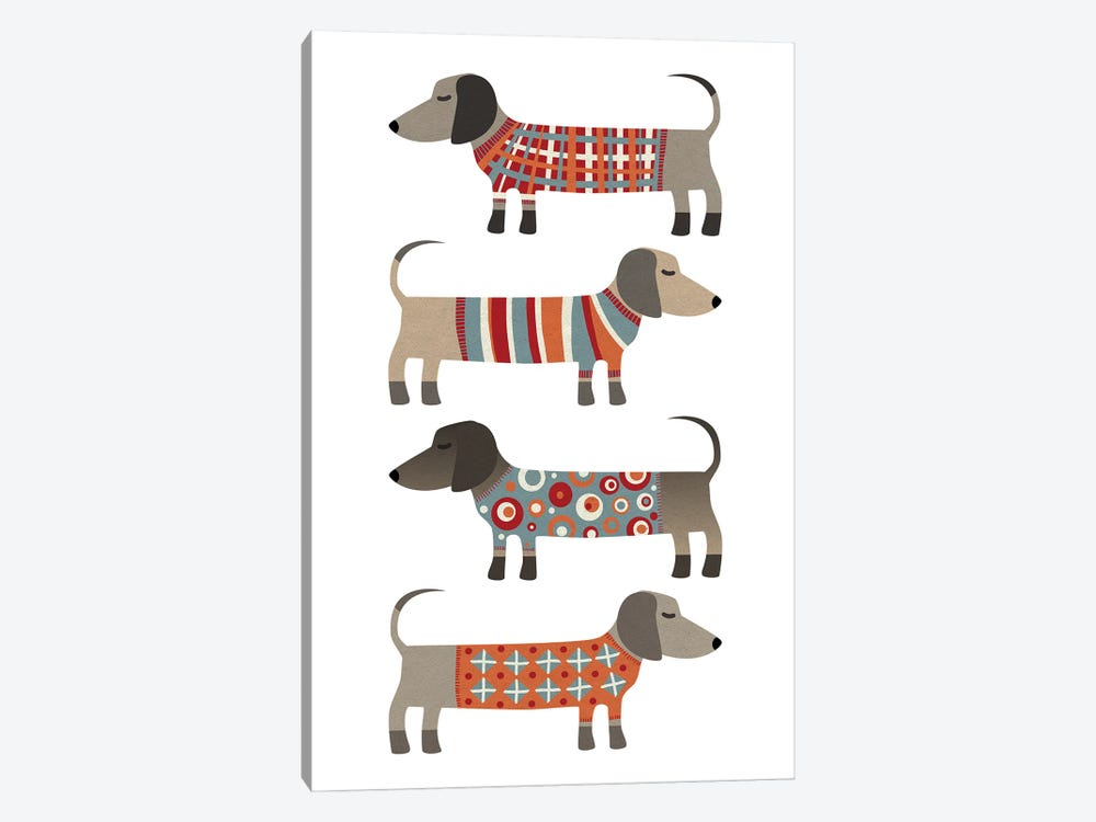 Sausage Dogs In Sweaters by Nic Squirrell 1-piece Canvas Print
