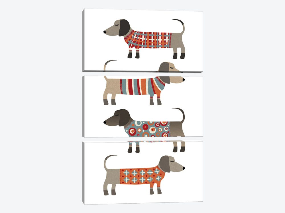 Sausage Dogs In Sweaters by Nic Squirrell 3-piece Canvas Print