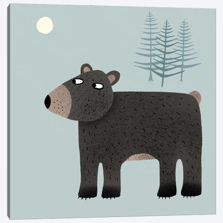 The Bear, The Trees & The Moon Canvas Print #NSQ68} by Nic Squirrell Canvas Art