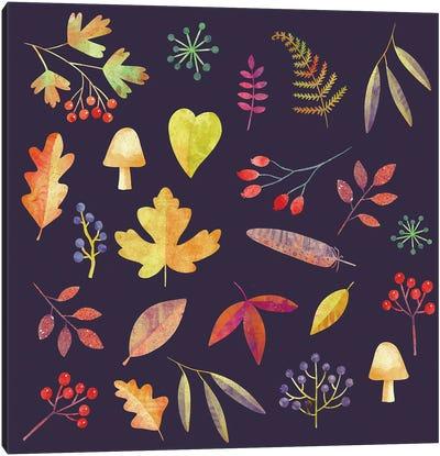 Autumn Walk In The Dark Canvas Art Print