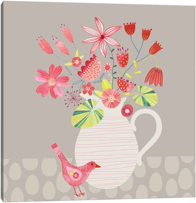 Bird With A Jug Of Flowers Canvas Art Print