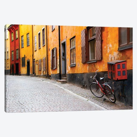 Lone Bicycle Next To A Mailbox, Gamla Stan (Old Town), Stockholm, Sweden Canvas Print #NSR1} by Nancy & Steve Ross Canvas Wall Art