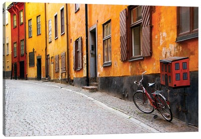 Lone Bicycle Next To A Mailbox, Gamla Stan (Old Town), Stockholm, Sweden Canvas Art Print