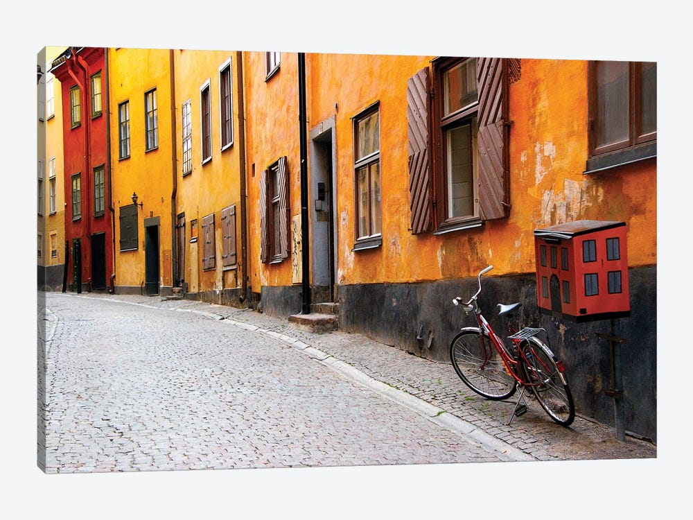 Lone Bicycle Next To A Mailbox, Gamla Stan (Old Town), Stockholm, Sweden by Nancy & Steve Ross 1-piece Canvas Artwork