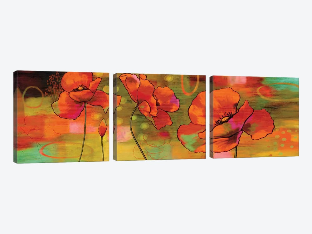 Magical Poppies by Nicole Sutton 3-piece Canvas Print