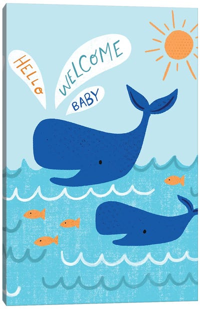 Mama And Baby Whale Canvas Art Print