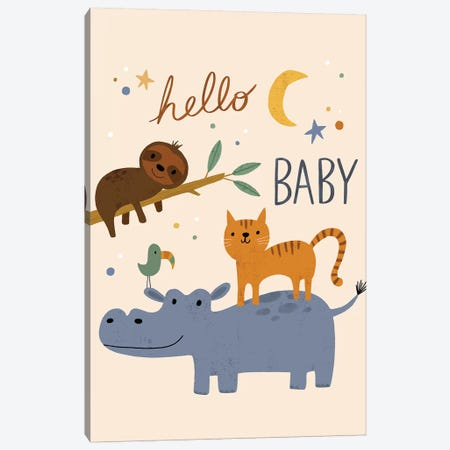 Baby Animal Menagerie VI Canvas Print #NSV18} by Nina Seven Canvas Wall Art