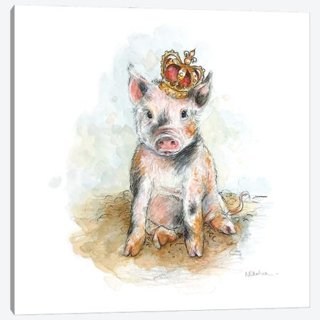 King Piggy Canvas Print #NTC10} by Natacha Chohra Canvas Artwork