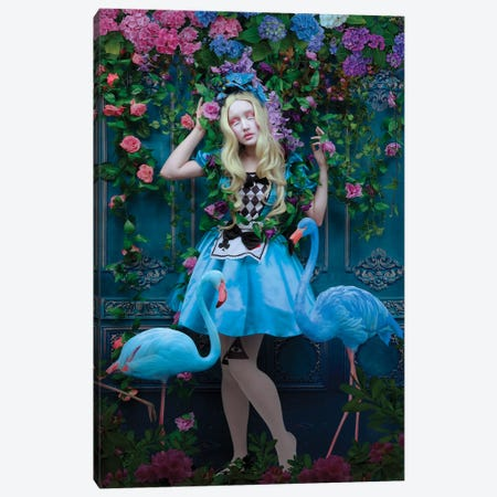Blue Flamingoes Canvas Print #NTL4} by Natalie Shau Art Print