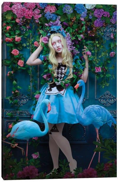 Blue Flamingoes Canvas Art Print