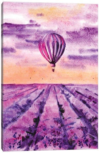 Hot Air Balloon Over Lavender Field Canvas Art Print