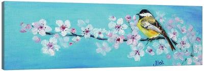 Bird On Blossom Branch Canvas Art Print