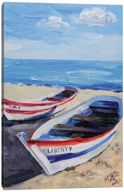 Boats On The Beach Canvas Art Print