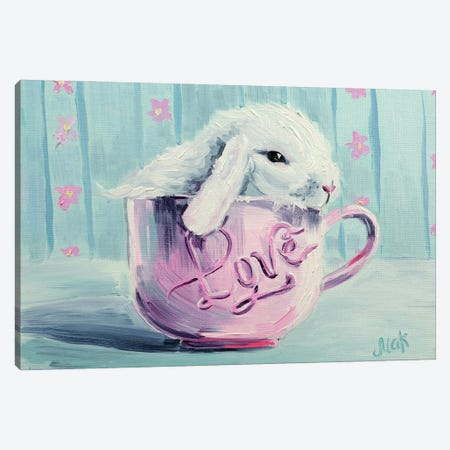 Rabbits In A Cup Canvas Print #NTM23} by Nataly Mak Canvas Art Print