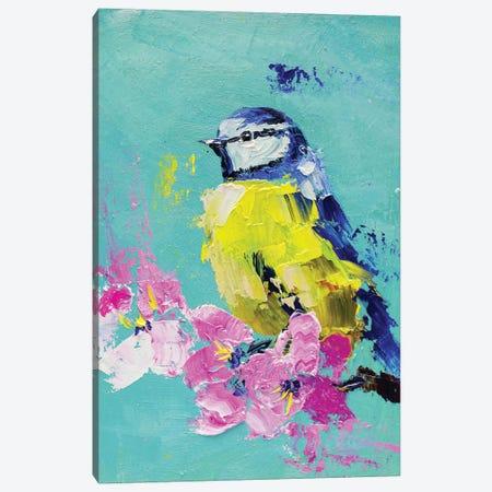Blue Tit On A Branch Canvas Print #NTM25} by Nataly Mak Canvas Wall Art