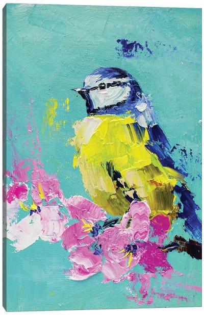 Blue Tit On A Branch Canvas Art Print