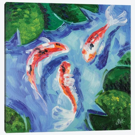 Koi Fish Canvas Print #NTM43} by Nataly Mak Art Print