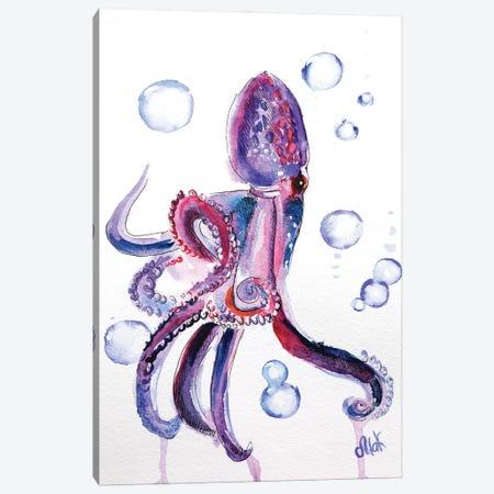 Purple Octopus Canvas Print #NTM64} by Nataly Mak Canvas Artwork