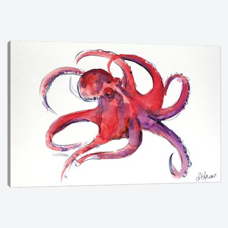 Red Octopus II Canvas Print #NTM67} by Nataly Mak Canvas Wall Art