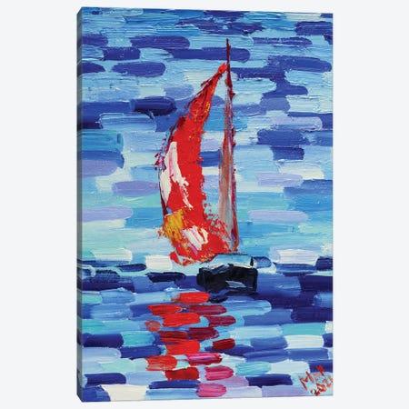 Red Sailboat Canvas Print #NTM68} by Nataly Mak Art Print