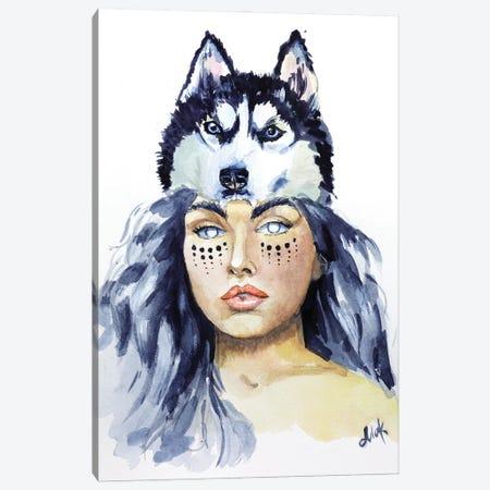 Wolf Woman Canvas Print #NTM78} by Nataly Mak Canvas Art