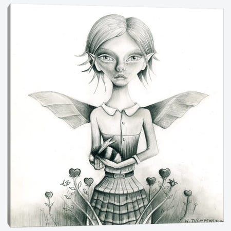 Fairy With Bee Canvas Print #NTP14} by Neil Thompson Canvas Wall Art