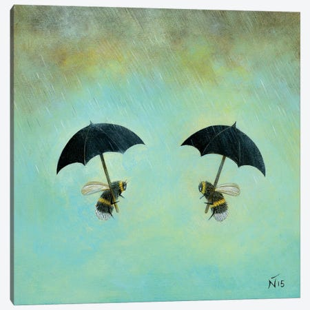 Rainy Day Conversation Canvas Print #NTP30} by Neil Thompson Canvas Print