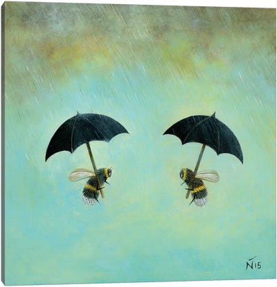 Rainy Day Conversation Canvas Art Print