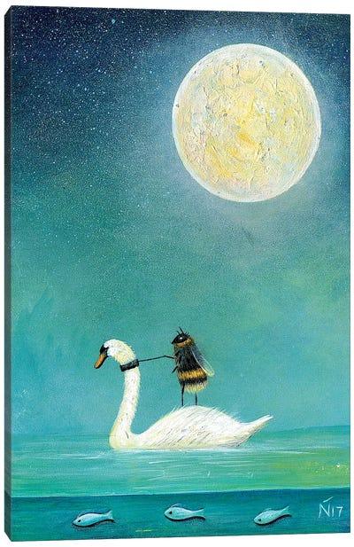 Ride A White Swan Canvas Art Print