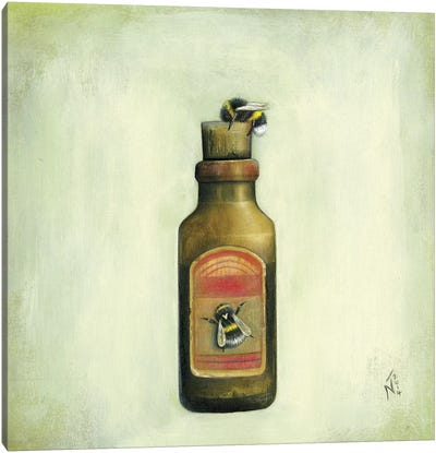 Bottle And Bees Canvas Art Print