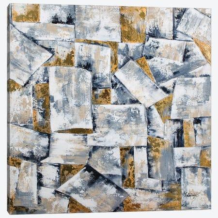 Black White Gray Gold Geometric-Abstract Geometric Canvas Print #NTS18} by Nastasiart Canvas Art