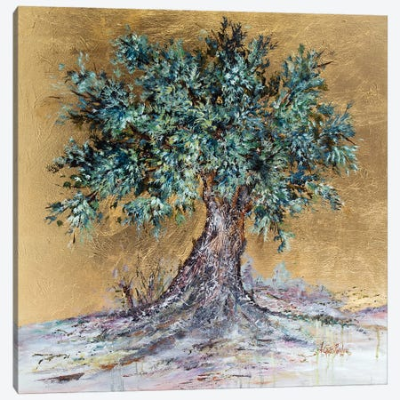 Olive Tree On Gold Canvas Print #NTS20} by Nastasiart Canvas Art Print