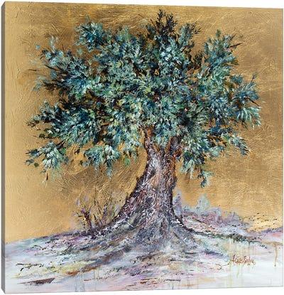 Olive Tree On Gold Canvas Art Print