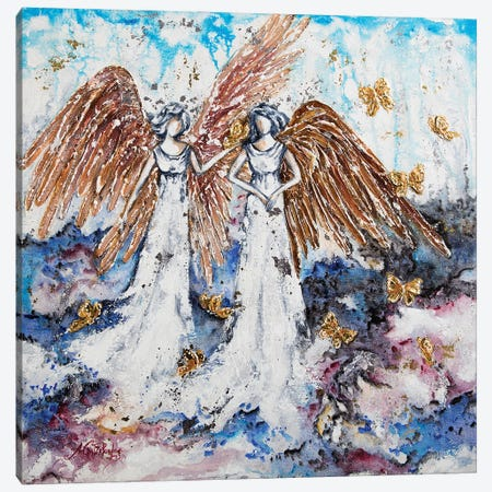 Angels And Gold Butterflies Canvas Print #NTS29} by Nastasiart Art Print