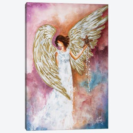 White Angel Star Canvas Print #NTS3} by Nastasiart Canvas Wall Art