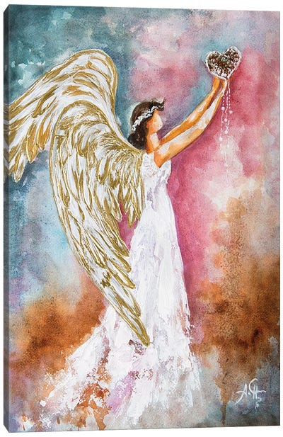 White Angel Heart Canvas Art Print