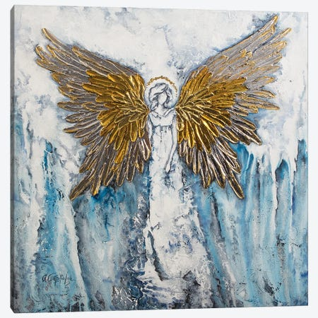 Abstract Angel, Gold Silver Angel Wings Canvas Print #NTS5} by Nastasiart Art Print