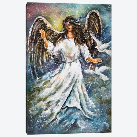 Angel And Doves Canvas Print #NTS8} by Nastasiart Canvas Wall Art