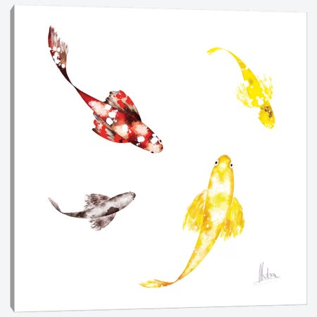 Koi White Canvas Print #NTX33} by Natxa Canvas Art Print