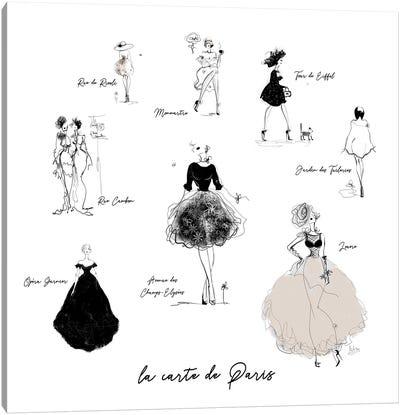 La Carte De Paris Canvas Art Print