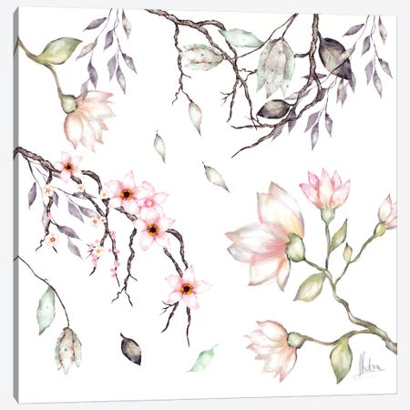 Magnolia Canvas Print #NTX42} by Natxa Canvas Art