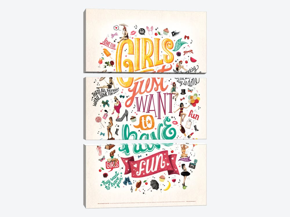 Girls Just Want To Have Fun by Nour Tohmé 3-piece Canvas Art