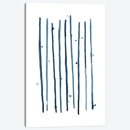 Watercolor Vertical Lines & Dots Blue Canvas Print #NUV100} by Nouveau Prints Art Print